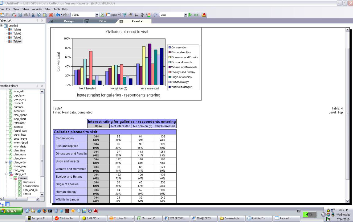 Ibm spss data collection survey reporter view tables and charts nvjuhfo Images